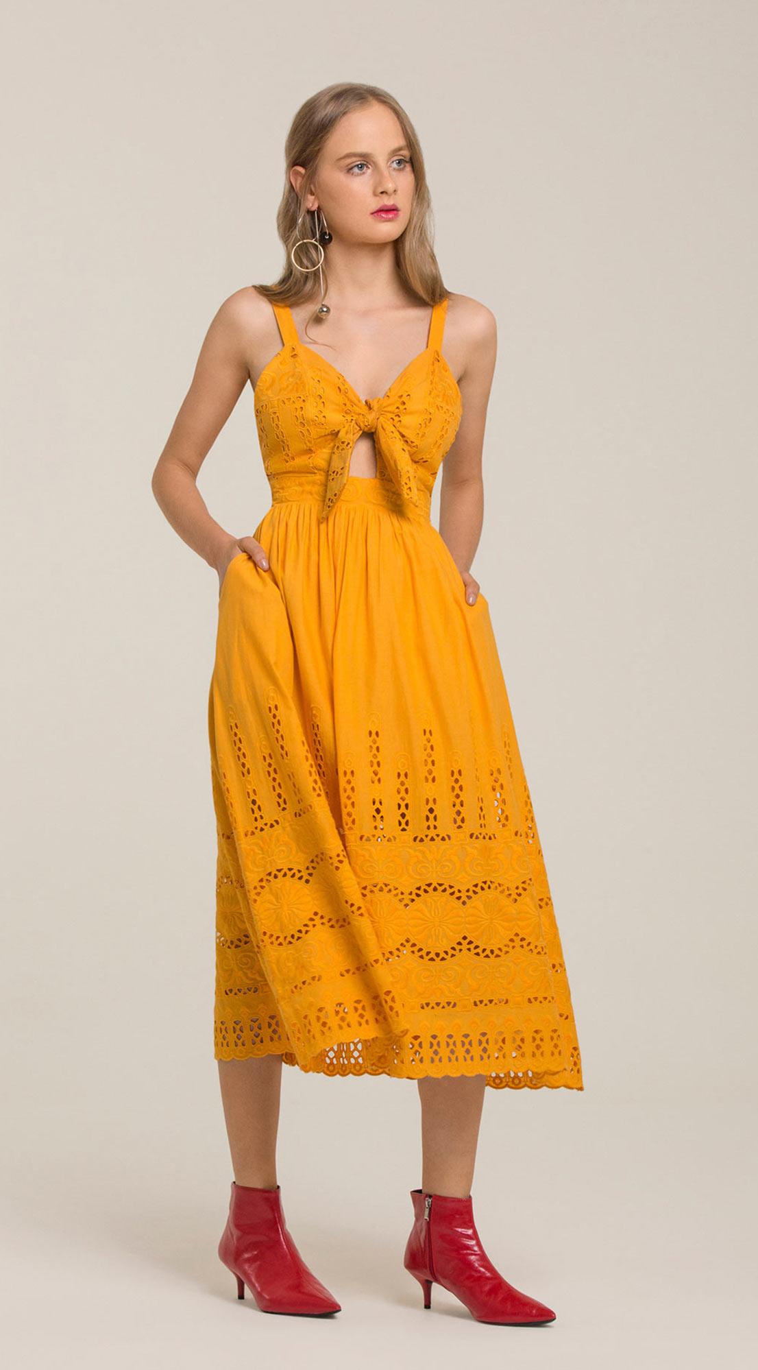 Vestido Midi Decote V Com Amarracao Laranja - leboh