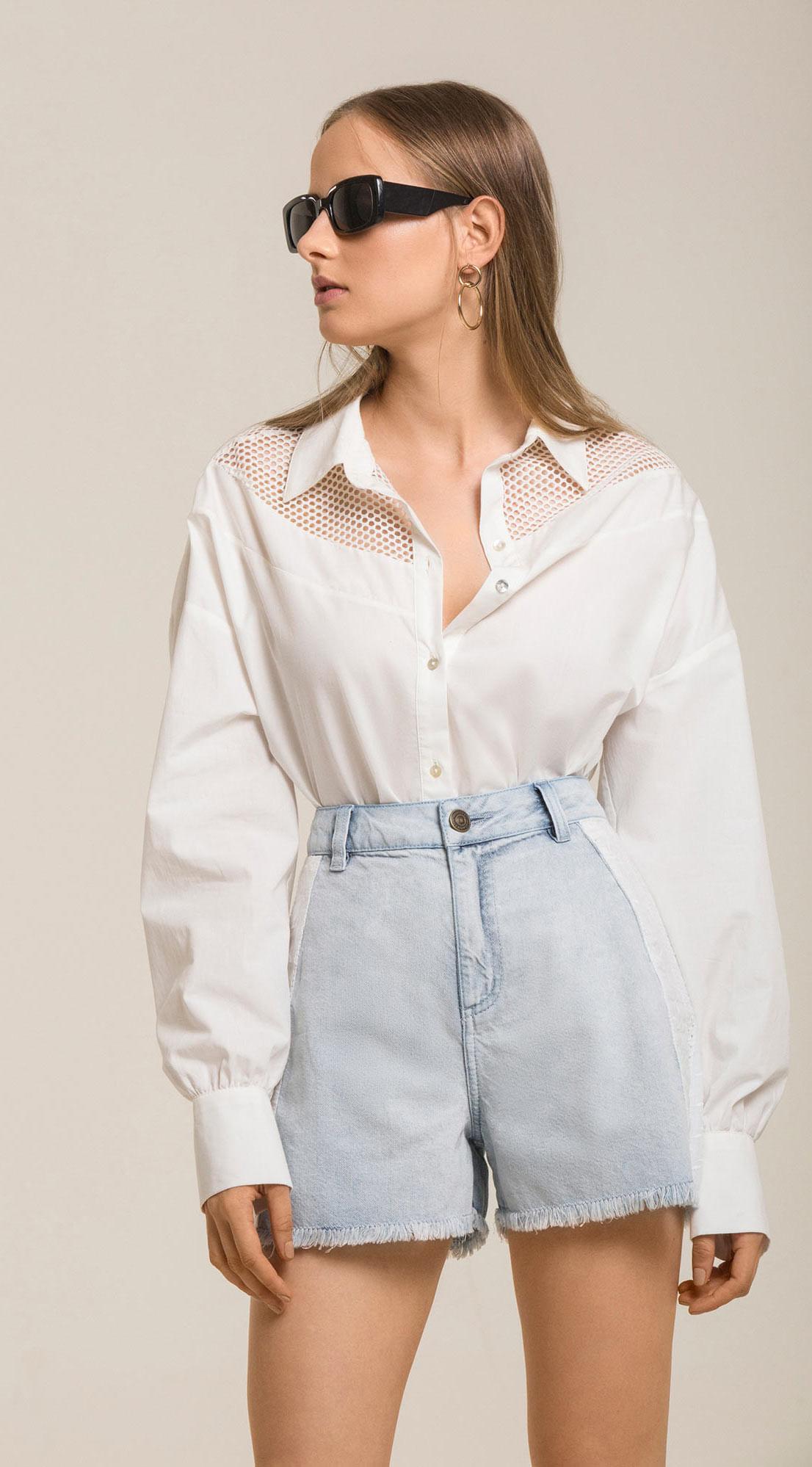 Camisa Manga Longa Detalhe Tela Off White abfc3f06f14
