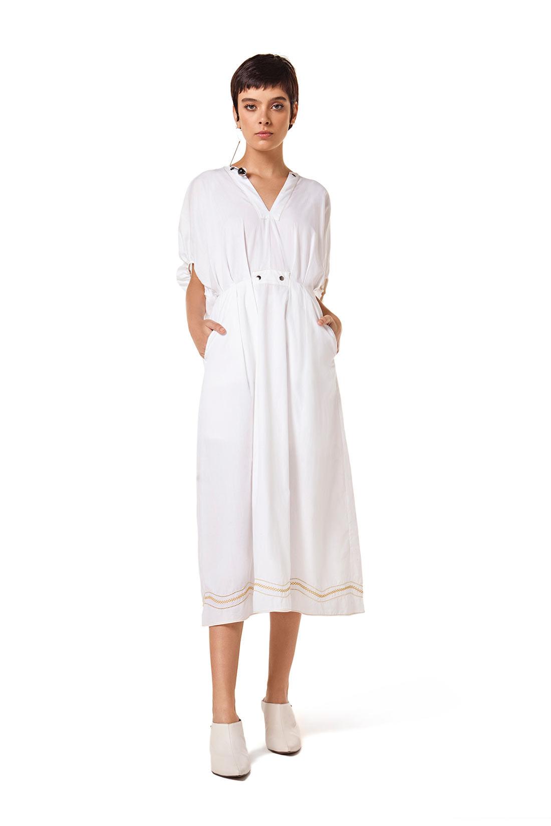 fce2a7f81b Vestido Midi Decote V Costura Marcada Branco - leboh