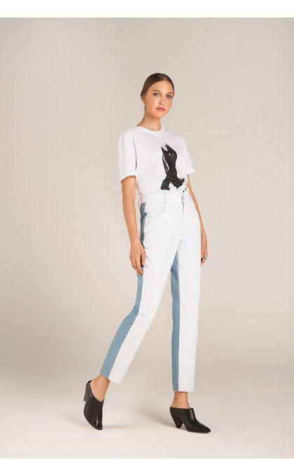 T-Shirt Decote Redondo Com Silk Branco 66635a24d43