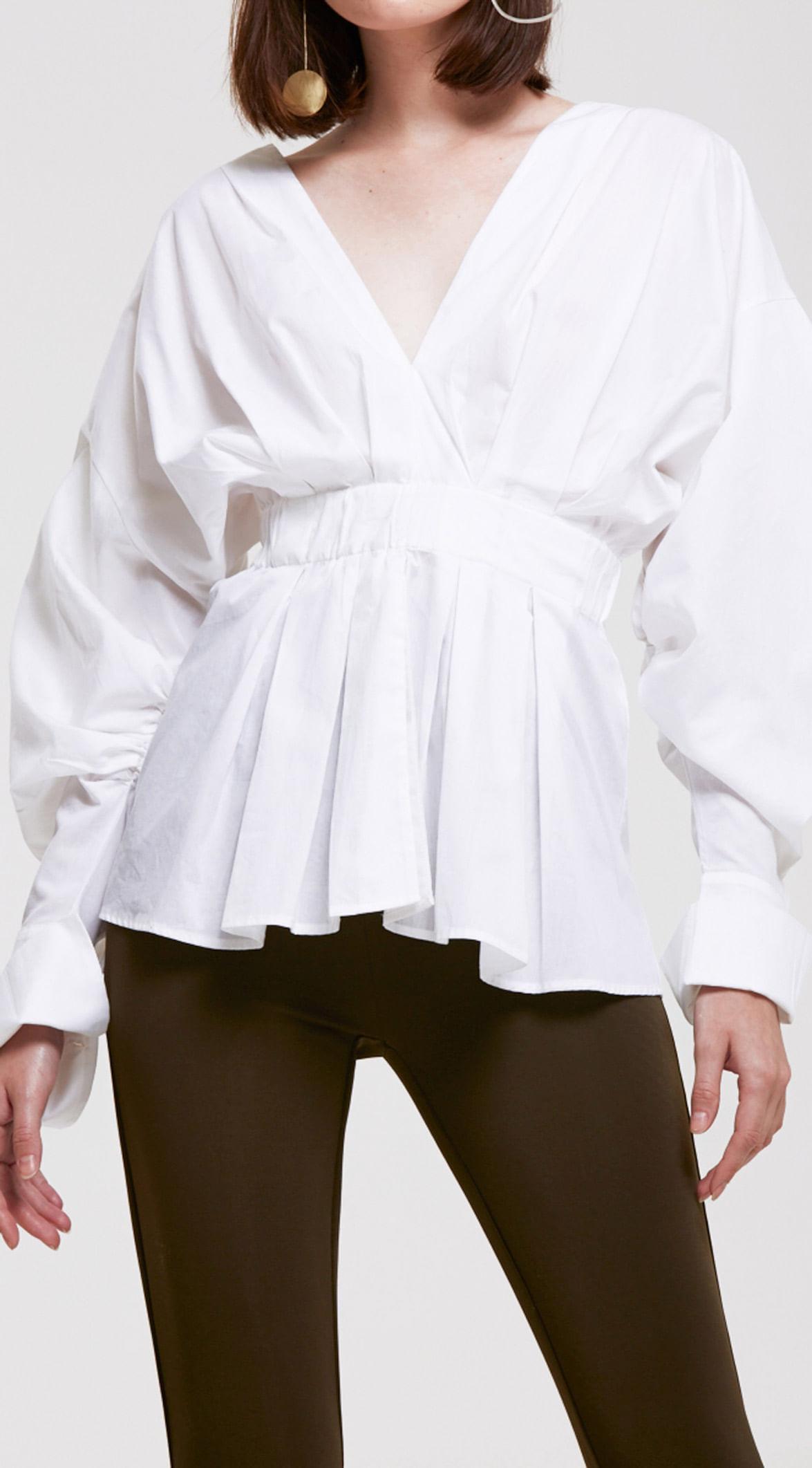 d6911e6be5 Camisa Manga Bufante Detalhe Franzido Off White - leboh